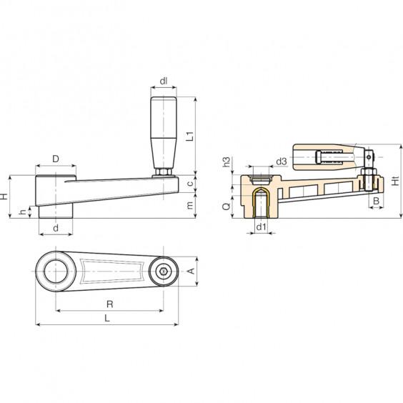 Рукоятки кривошипные фиксированные и с зацеплением E218 фото 2