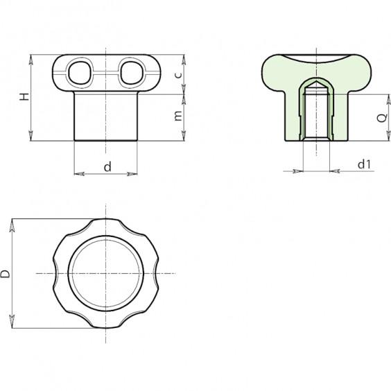 Полнотелые маховички - фиксаторы F110 фото 2