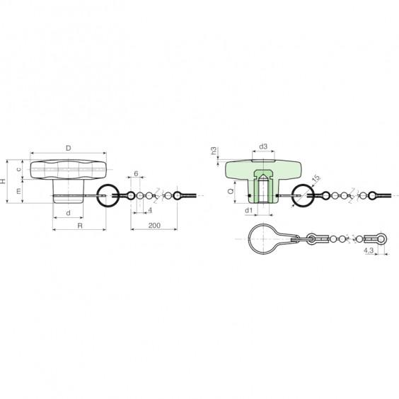 Полнотелые маховички - фиксаторы F175CAT фото 2