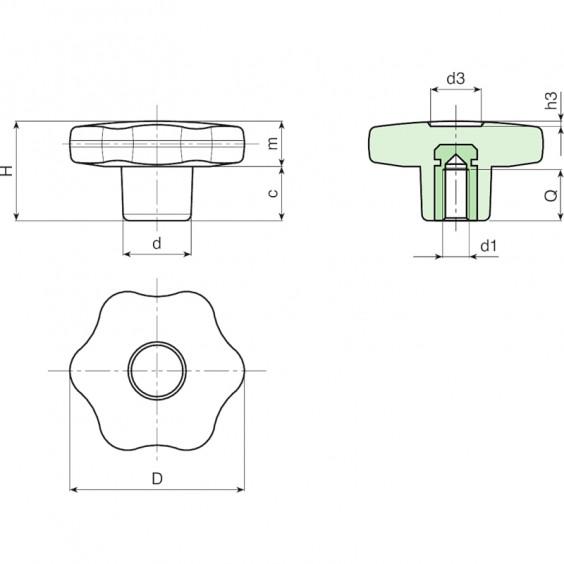 Полнотелые маховички - фиксаторы F175CIN фото 2