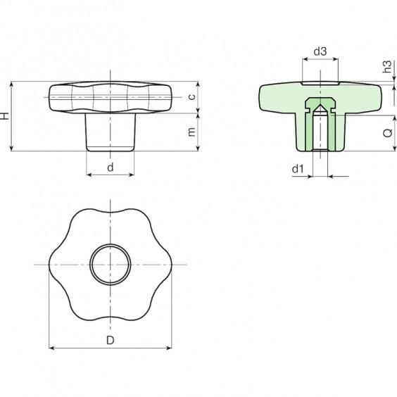 Полнотелые маховички - фиксаторы F176 фото 2