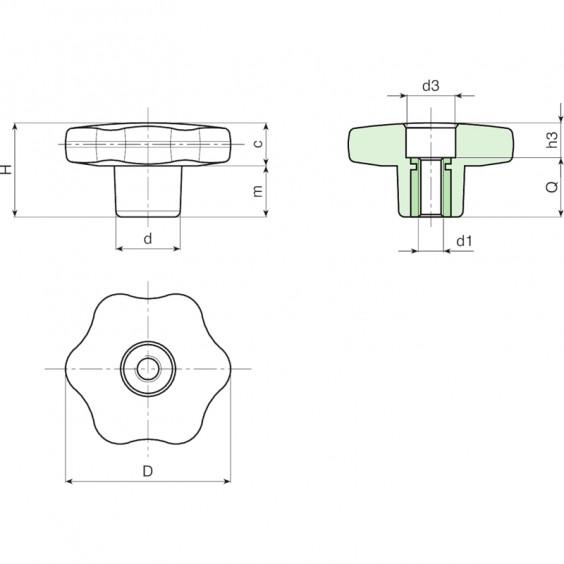 Полнотелые маховички - фиксаторы F177 фото 2