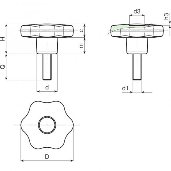 Полнотелые маховички - фиксаторы F178 фото 2