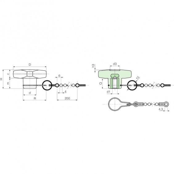 Полнотелые маховички - фиксаторы F186CAT фото 2