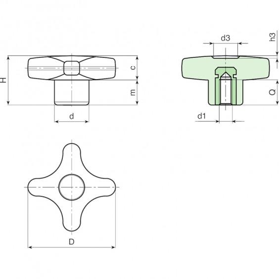 Полнотелые маховички - фиксаторы F186CIN фото 2
