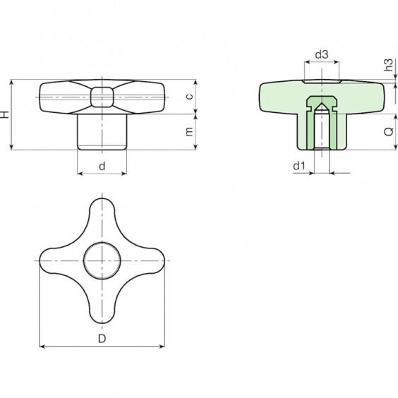 Полнотелые маховички - фиксаторы F187 фото 2