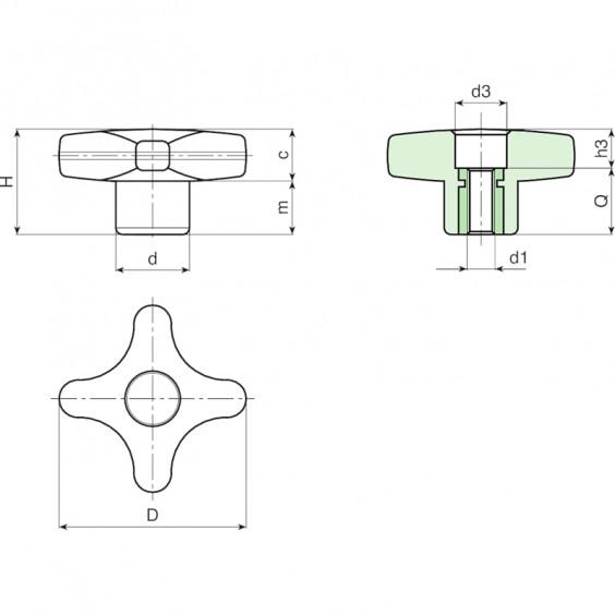 Полнотелые маховички - фиксаторы F188 фото 2