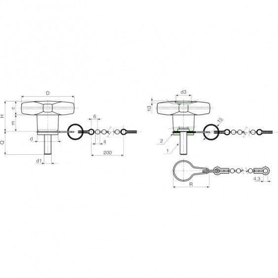 Полнотелые маховички - фиксаторы F189CAT фото 2