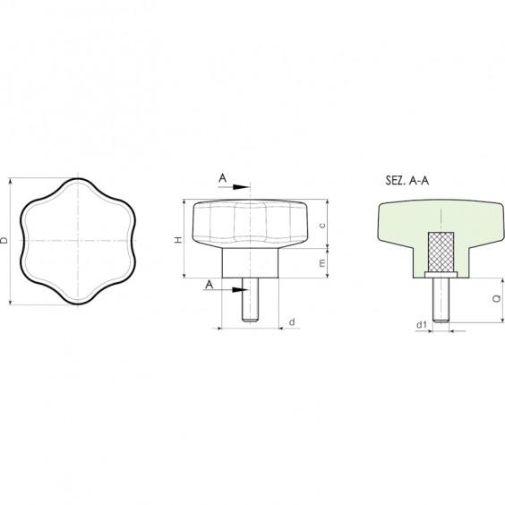 Полнотелые маховички - фиксаторы F202 фото 2
