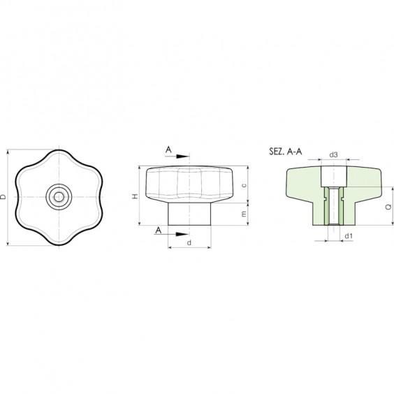 Полнотелые маховички - фиксаторы F204 фото 2