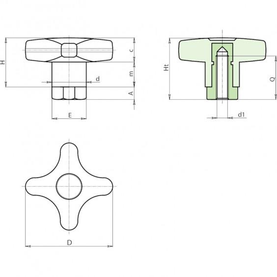 Полнотелые маховички - фиксаторы F269 фото 2
