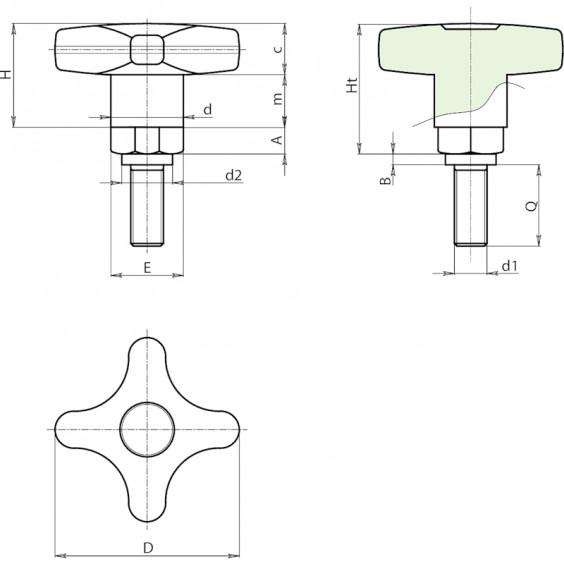 Полнотелые маховички - фиксаторы F270 фото 2