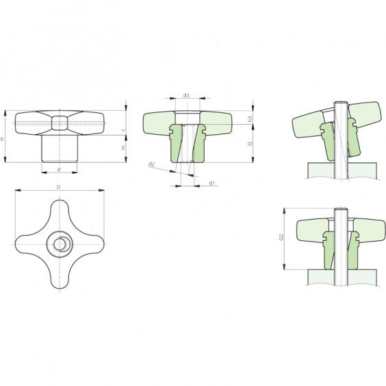Полнотелые маховички - фиксаторы F271 фото 2