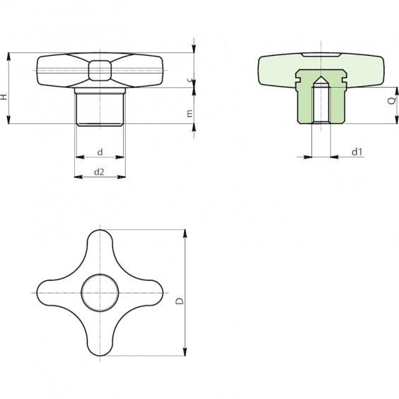 Полнотелые маховички - фиксаторы F286 фото 2