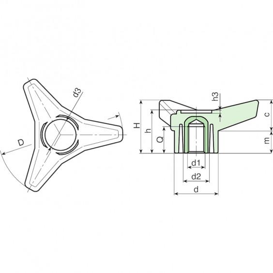 Полнотелые маховички - фиксаторы F761 фото 2