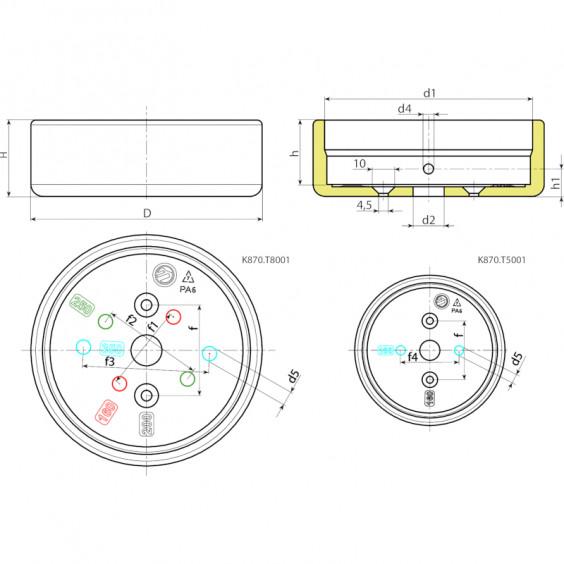 Маховики управления с индикатором K870 фото 2